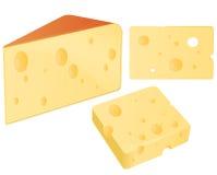 Três partes de queijo Fotos de Stock Royalty Free