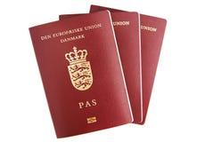 Três passaportes dinamarqueses Fotos de Stock Royalty Free