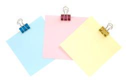 Três pedaços de papel Foto de Stock Royalty Free