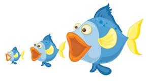 Três peixes azuis ilustração royalty free