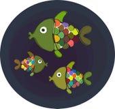 Três peixes de arco-íris Ilustração Royalty Free