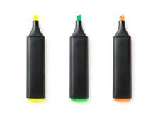 Três penas de marcador coloridas isoladas Fotos de Stock