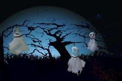 Três penduraram fantasmas no Dia das Bruxas Fotografia de Stock
