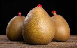 Três peras com cera de selagem Fotos de Stock Royalty Free