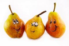 Três peras com uma alegria fotografia de stock