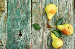 Três peras verdes com as folhas no marrom verde de madeira envelheceram o fim do fundo da textura acima com espaço da cópia no la Imagens de Stock