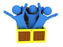 Três pessoas com caixa de tesouro Imagem de Stock