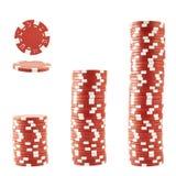 Três pilhas de microplaquetas do casino Imagem de Stock
