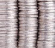 Três pilhas de moedas fotografia de stock royalty free
