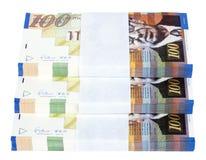 Escadaria isolada de 100 pilhas das contas do NIS Imagem de Stock Royalty Free