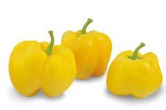 Três pimentas amarelas isoladas no fundo branco Fotos de Stock