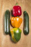 Três pimentas e abobrinhas dois Imagem de Stock Royalty Free