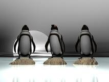 Três pinguins ilustração do vetor