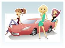 Três pintainhos e carros desportivos Imagem de Stock