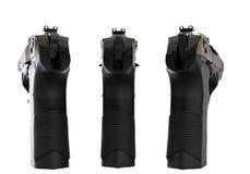 Três pistolas semi automáticas pretas - vista traseira Imagens de Stock Royalty Free
