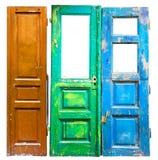 Três portas de madeira velhas coloridas Imagem de Stock Royalty Free