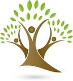 Três povos como árvores, árvores e logotipo do jardineiro ilustração stock