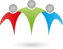 Três povos, equipe, família, grupo, logotipo dos amigos Foto de Stock Royalty Free
