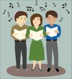 Três povos que cantam Fotos de Stock