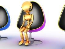 Três povos que sentam-se nas cadeiras #4 Imagem de Stock Royalty Free