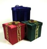 Três presentes de Natal fotografia de stock