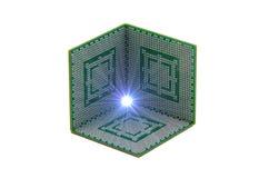 Três processadores centrais que fazem um meio cubo Fotos de Stock Royalty Free