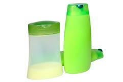Três produtos verdes da beleza e de higiene. Fotografia de Stock