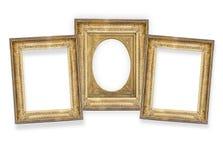Três quadros dourados isolados Imagem de Stock Royalty Free