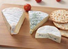 Três queijos franceses Fotos de Stock Royalty Free