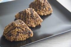 Três queques deliciosos do chocolate Imagem de Stock