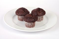 Três queques do chocolate Foto de Stock