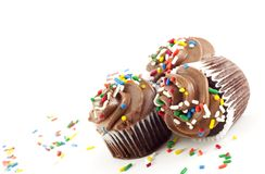 Três queques do chocolate Imagem de Stock