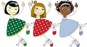 Três raças como mulheres ilustração stock