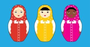 Três raças das bonecas do aninhamento Imagem de Stock