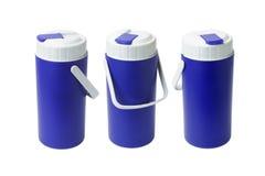Três recipientes plásticos azuis Imagem de Stock Royalty Free