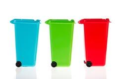 Três recipientes plásticos do rolo Imagem de Stock Royalty Free
