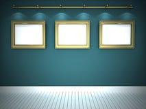 Três retratos na galeria azul Foto de Stock Royalty Free