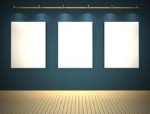 Três retratos na parede azul Imagens de Stock