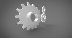 Três rodas denteadas 3D no fundo cinzento cinzento Imagem de Stock