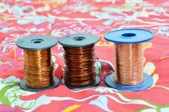 Três rolos do fio Fotografia de Stock Royalty Free