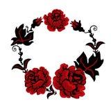 Três rosas vermelhas em um ramalhete no estilo ucraniano ilustração royalty free