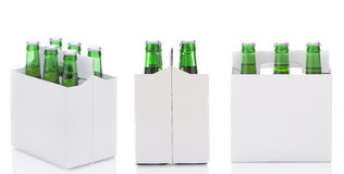 Três seis blocos da cerveja Imagens de Stock
