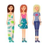 Três senhoras bonitos na roupa de Vogue, imagem do vetor ilustração stock