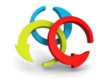 Três setas azuis verdes vermelhas redondas no fundo branco Fotografia de Stock