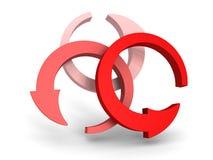 Três setas vermelhas redondas no fundo branco Fotos de Stock Royalty Free