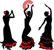 Três silhuetas do dançarino do flamenco com fã Foto de Stock