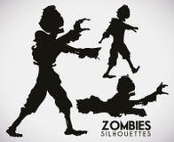 Três silhuetas estarrecentes do zombi, ilustração do vetor ilustração do vetor