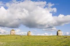 Três silos da agricultura Fotos de Stock