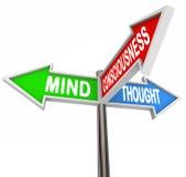 Três sinais da seta do pensamento da consciência da mente dos princípios ilustração do vetor