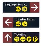 Três sinais no Aiirport ilustração royalty free